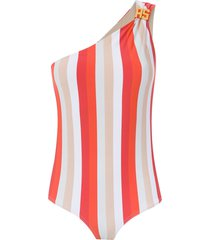 amir slama one shoulder swimsuit - red