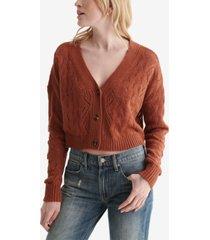 women's lace-knit cropped v-neck cardigan
