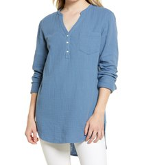 women's caslon women's long sleeve high/low tunic, size xx-small - blue