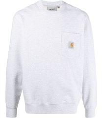 carhartt wip pocket cotton sweatshirt - grey