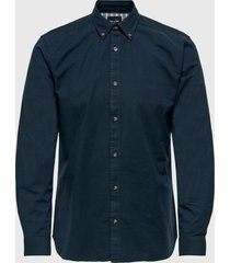 camisa only & sons onsblake ls stretch oxford shirt{ azul - calce slim fit