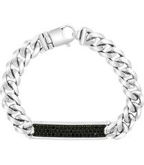 effy men's black spinel cluster curb link bracelet in sterling silver