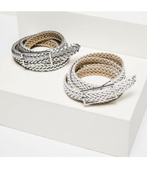 lane bryant women's braided belt 2-pack - white & silver 26/28 white