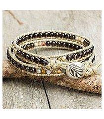 smoky quartz wrap bracelet, 'wild adventure' (thailand)