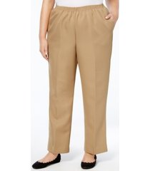 alfred dunner plus size classic pull-on straight-leg pants