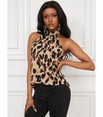 camiseta sin mangas con cuello halter de leopardo marrón de yoins