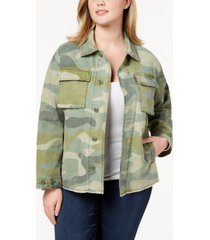 levi's trendy plus size cotton camo-print high-low hem jacket