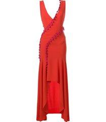 galvan slit tassel dress - red