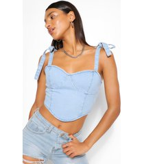 denim tie shoulder bodice crop top, light blue