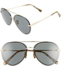 diff lenox 62mm polarized oversize aviator sunglasses in gold/g15 at nordstrom