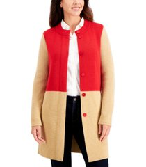 charter club cotton colorblocked long button cardigan, created for macy's