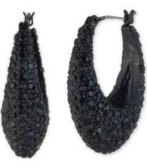 "dkny hematite-tone small pave hoop earrings, 0.8"""