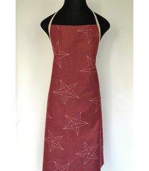 avental de cozinha star vermelho 100% algodã£o jaquarde - importado de portugal - vermelho - dafiti