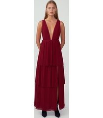 burgundy plunging tiered maxi