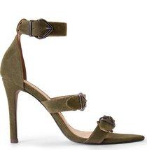 amaro feminino sandália bico fino fivelas, militar