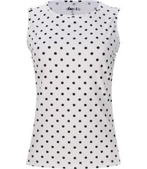 top puntos negros color blanco, talla l