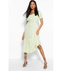 gesmokte midi-jurk met puff-mouwen en stippenprint, salie