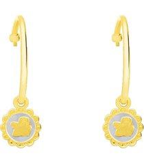 orecchini a cerchio in argento dorato con pendente angelo per donna