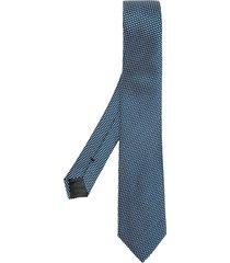 emporio armani micro-pattern tie - blue