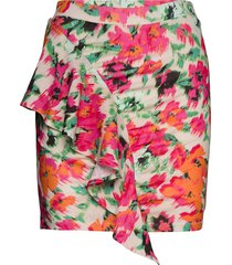 draped frill mini skirt kort kjol rosa ivyrevel