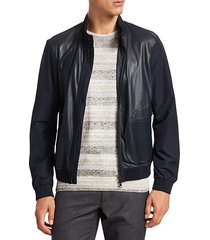 collection perforated mixed media leather jacket