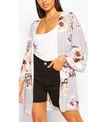 bloemenprint kimono met wijde mouwen, grijs