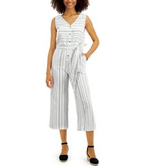 style & co petite striped cotton jumpsuit, created for macy's
