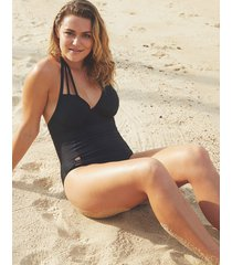 rene underwire strapping non padded halter one-piece swimsuit d-gg