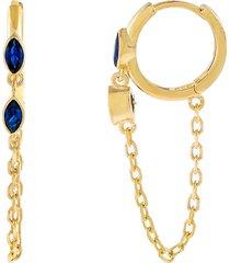 women's adina's jewels cubic zirconia evil eye chain drop huggie hoop earrings