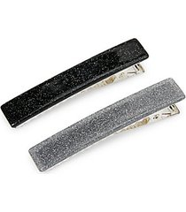 2-piece silvertone hair clip set