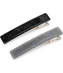 2-piece silvertone hair clip set