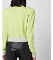 balmain women's cropped mesh logo sweatshirt - anis/gris - fr 36/uk 8