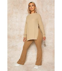 plus side split moss stitch tunic sweater, stone