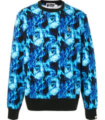 a bathing ape® ape pattern sweatshirt - blue