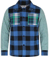 natasha zinko multicolor boy checked shirt with white logo