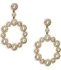 14k gold & diamond halo drop earrings
