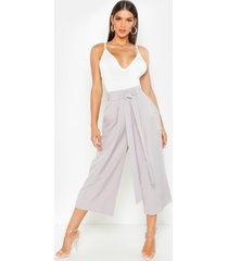 pleated waist wide leg culottes, grey