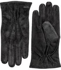 men's hestra 'arthur' suede gloves, size medium - black