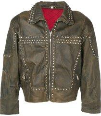 a.n.g.e.l.o. vintage cult 1980's studded biker jacket - brown