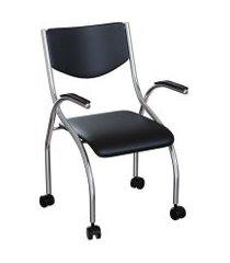 cadeira de escritório secretária colorado estofada cromada e preta