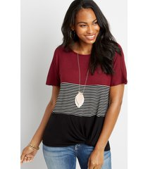 maurices womens 24/7 stripe colorblock knot hem tee red