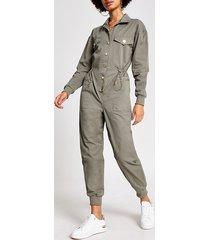 river island womens green drawstring waist boiler jumpsuit