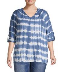 karen kane women's plus tie-dyed v-neck top - blue tie dye - size 2x (18-20)
