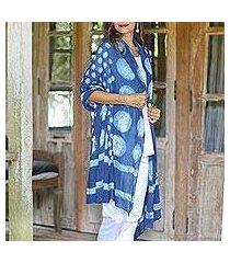 block-printed cotton shawl, 'indigo bubbles' (india)