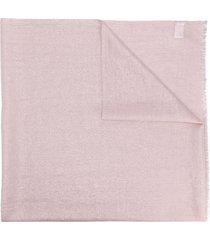 brunello cucinelli metallic sheen frayed scarf - pink