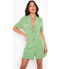 blazer jurk met uitgesneden rug en korte mouwen, bright green