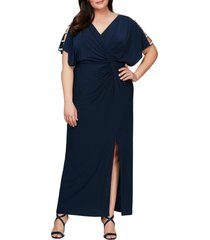 plus size women's alex evenings embellished sleeve knot front gown