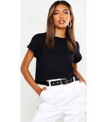 basic roll sleeve crop t-shirt, black