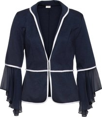 cardigan in jersey con chiffon (blu) - bodyflirt boutique