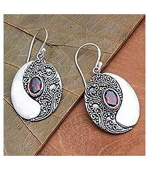 garnet dangle earrings, 'oval reflection' (indonesia)